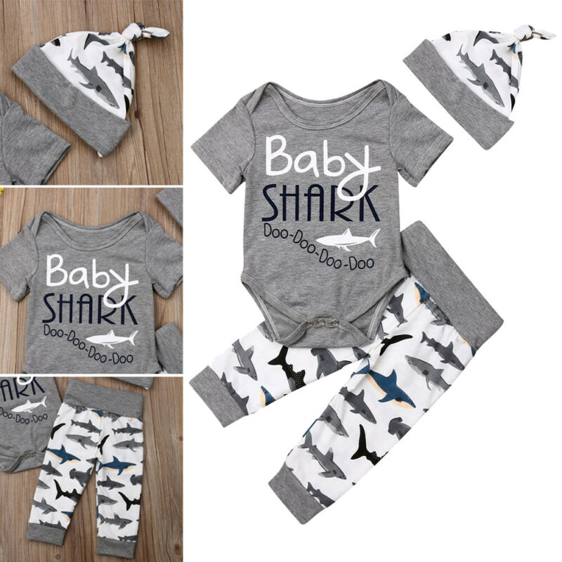 0 24M Brand New Newborn Toddler Baby Boys Girls Shark Long Sleeve Romper Playsuit Babygrows Outfits Costume in Clothing Sets from Mother Kids