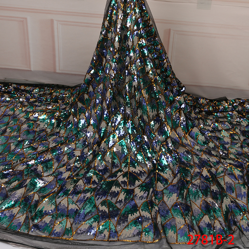 Image 3 - Fashion African Tulle Lace Fabrics with Sequins High Quality  Nigerian Net Lace for Bridal Material Sequins Lace Fabrics  APW2781BLace