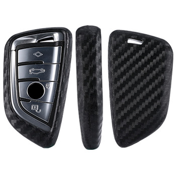 Carbon Fiber Pattern Silicone Auto Key Cover Case For BMW X5 X6 X4 X3 1 2 Series Smart Keys Car key Holder Keychain image