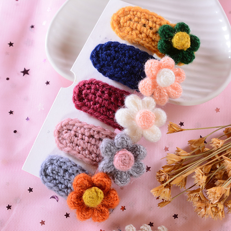Kids Girl Cute Knitted Hair Clip Square BB Hairpins Barrettes Hair Accessories
