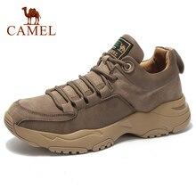 CAMELO Genuínos Homens De Couro Sapatos Ao Ar Livre Martin Botas Casual Shoes Men Walking Ferramental Militar absorção de Choque Fosco Calçados