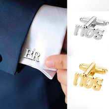 Personalized mens shirt custom name cufflinks engraved initials