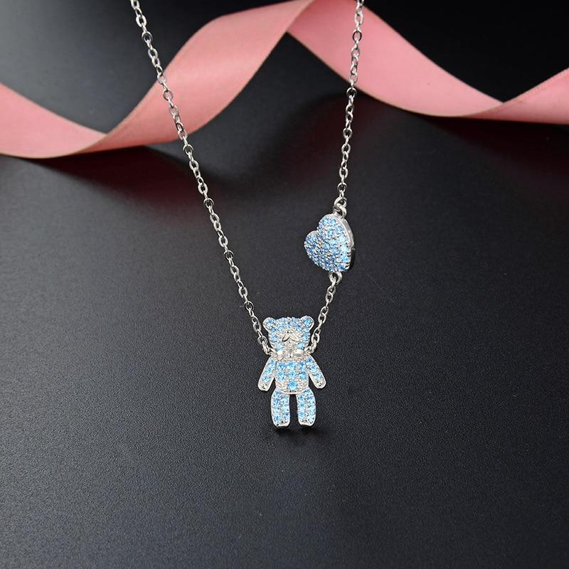 Kreskówka wisiorek S925 srebro naszyjnik z misiem kobiet cyrkon słodki łańcuszek do obojczyka biżuterii dla kobiet dziewczyna G0007