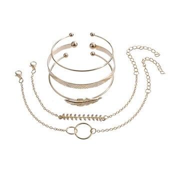 5Pcs/set Bohemian Gold color Moon Leaf Crystal Opal Open Bracelet Set for Women Punk Boho Beach Bangle Jewelry Gift 4