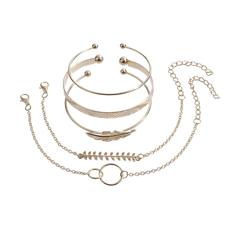 Modyle 5Pcs/set Bohemian Gold color Moon Leaf Crystal Opal Open Bracelet Set for Women Punk Boho Beach Bangle Jewelry Gift 3