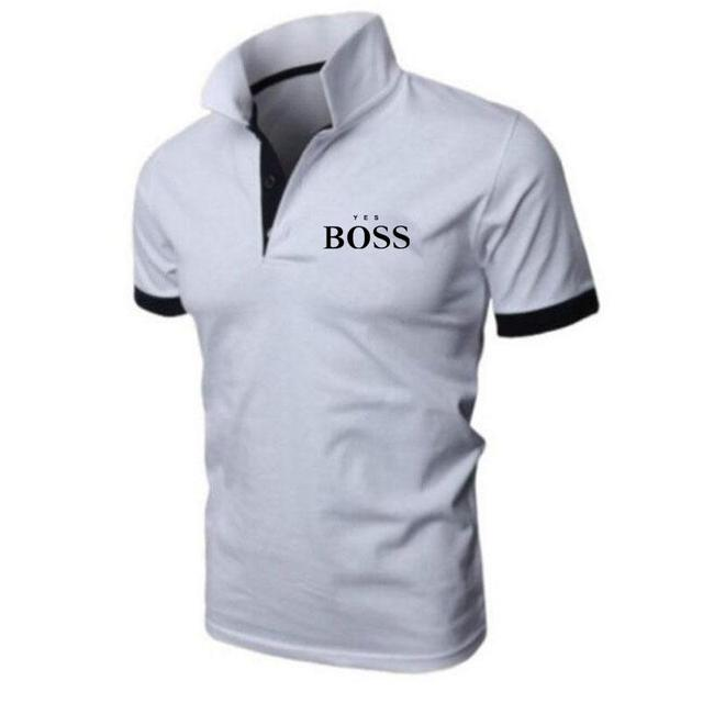 Summer sports and leisure men's fashion printed polo shirt boss boutique casual business short-sleeved cotton lapel jacket 6