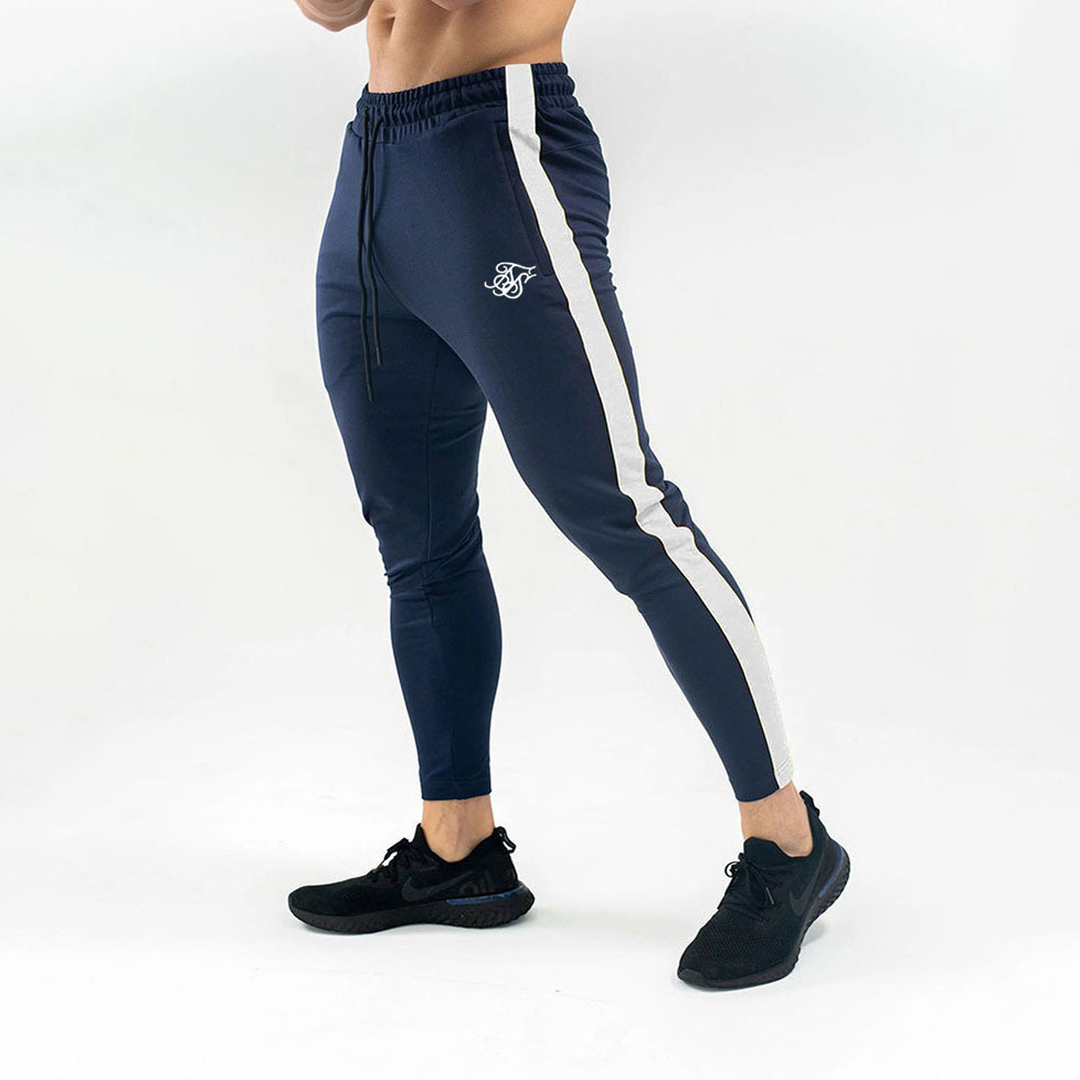Mens Joggers Sweatpants Sik Silk Elastic Pants Men Sportswear Fitness Tight Track Trousers Bodybuilding Cotton Man Pants