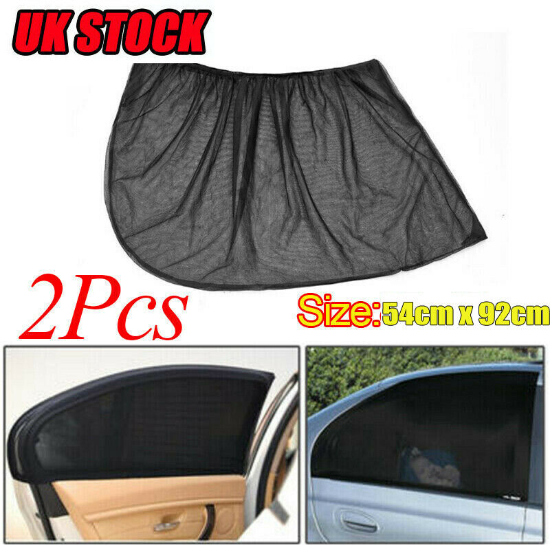 2Pcs Mesh Fabric Sun Visor Shade Cover Car Rear Side Window Sun Shade Shield UV Protector Black Auto Sunshade Curtain