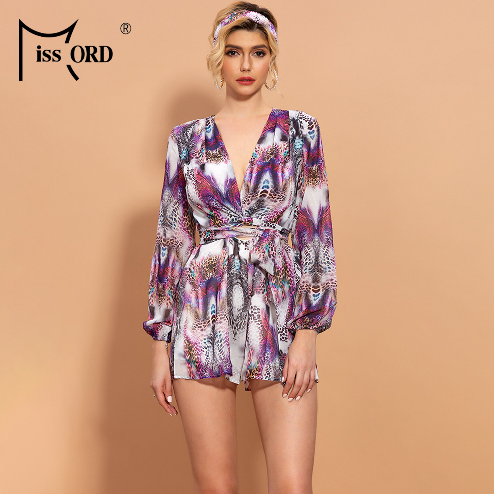 Missord 2020 Spring Summer Bohemia Style Animal Print Women Jumpsuit With Belt Beach Style Women Chiffon Playsuit MM1834
