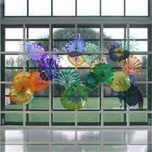 2020 Hot Sales Hand Blown Glass Wall Art Plates Murano Glass Plates for Wall Hanging Hotel Home Decoration(China)