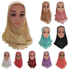 Arab Kids Girls Hijab Caps Muslim Head Cover Shawls Headscarf Islamic Hat Full Cover Prayer Hat Hair Loss Headwear Hats Ramadan