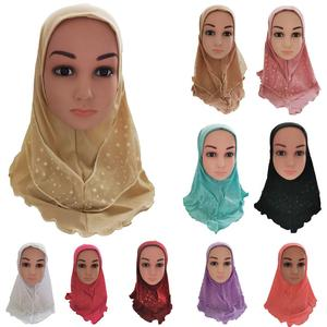 Image 1 - Arab Kids Girls Hijab Caps Muslim Head Cover Shawls Headscarf Islamic Hat Full Cover Prayer Hat Hair Loss Headwear Hats Ramadan