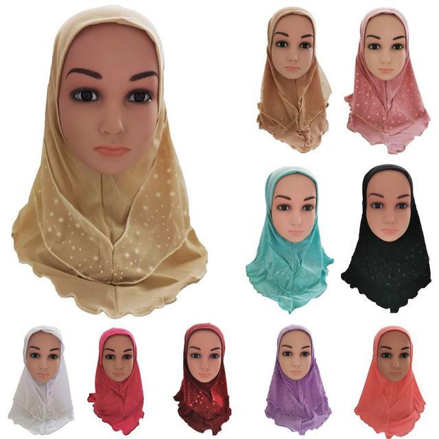 Arab Kids Girls Hijab Caps Muslim Head Cover Shawls Headscarf Islamic Hat Full Cover Prayer Hat Hair Loss Headwear Hats Ramadan