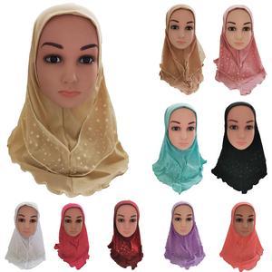 Image 1 - Arabischen Kinder Mädchen Hijab Caps Muslimischen Kopf Abdeckung Schals Kopftuch Islamischen Hut Volle Abdeckung Gebet Hut Haar Verlust Headwear Hüte ramadan