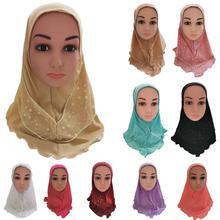 อาหรับเด็กหญิงหมวก Hijab มุสลิมหัว Shawls Headscarf อิสลามหมวกฝาครอบสวดมนต์หมวกผม Headwear หมวกเดือนรอมฎอน