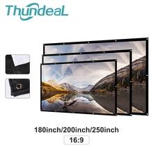 Переносной светодиодный проектор ThundeaL180 200 250 300 дюймов 16:9, белый экран для проекции занавесок, матовый белый 3D HD простой занавес