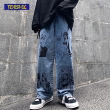 Washed Jeans Leg-Pants Anime Harajuku Vintage Wide Fashion Man Cotton Cartoon Women Loose