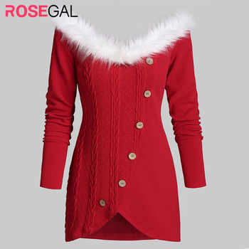 ROSEGAL Christmas Sweater Women High Low Button Embellished Mini Knitted Sweater Furry Collar Off The Shoulder Sweater Pullovers фото