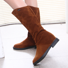 Autumn Winter Women Boots Matte Flock Boots For Female Ladies Height Increased Low Heel Shoes Lady Mid Calf High Boots plus 40