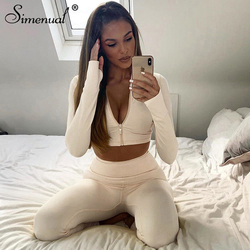 Simenual Sporty Fitness Casual Women Two Piece Sets Long Sleeve Workout Active Wear Bodycon Zipper Top And Leggings Tracksuits