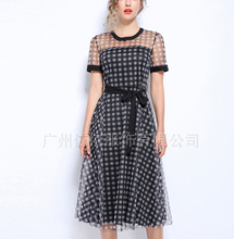 Spring and summer new style Large size womens L-5XL slim dress Medium long large mesh gauze