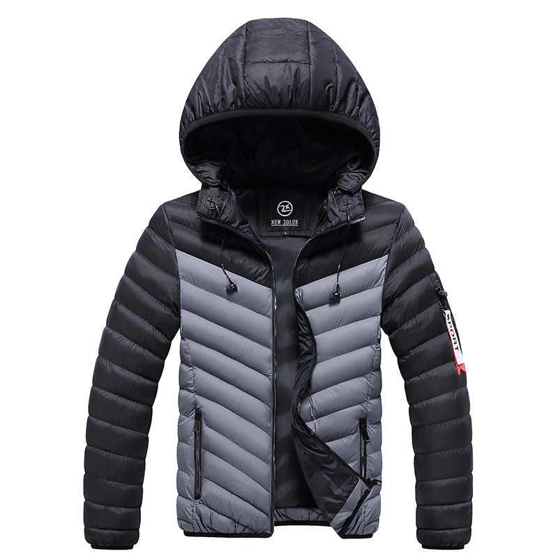 ファッションストリート冬厚く暖かいパーカージャケット男性フード付きコートにスプライシングデザイナー男性古典的な綿ジャケットとヘッドセット