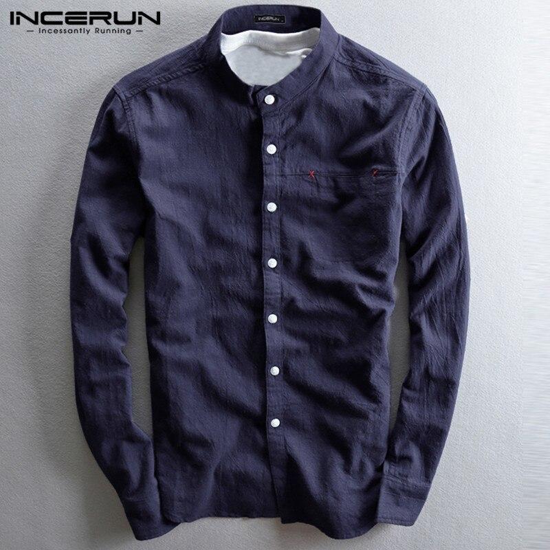 INCERUN Men Long Sleeve Shirt Cotton Linen Retro Plain Autumn Casual Henley Shirt Button Stand Collar Men Clothing Harajuku 2019