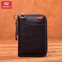Key bag men's leather multifunctional first layer leather coin purse short zipper handmade car key bag women ASBD020