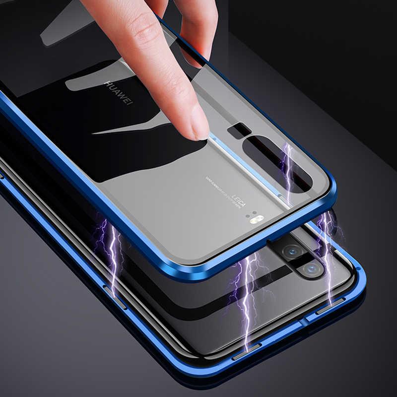 360 Полный Магнитный чехол для телефона для huawei P30 NOVA 5 Pro Коврики 20x P20 двухсторонняя, для стекла крышка металлический бампер Honor 9X20 10 8X чехол