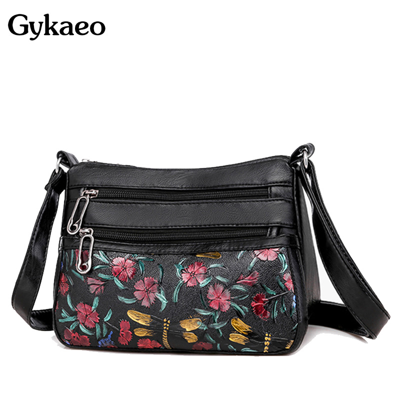 Woman Floral Shoulder Bag Ladies Leather Flap Crossbody Bags For Women 2020 Spring Black Flower Messenger Bag Sac A Main Femme