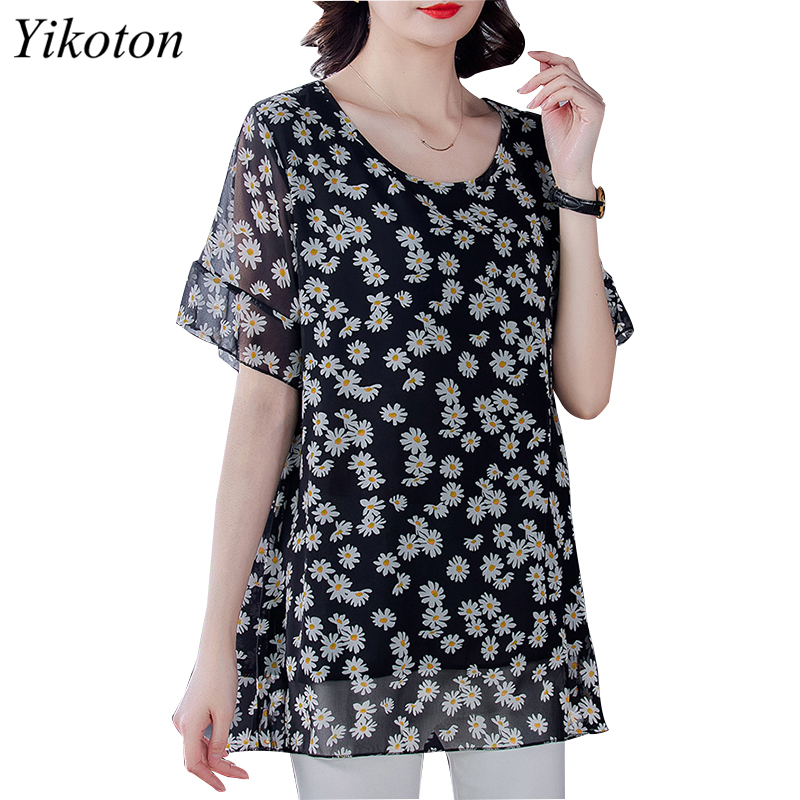 Summer Dress Shirts Women Blouse And Top Loose Plus Size Tunic 2021 Fashion Blouses Short Sleeve Chiffon Print O-Neck Feminine 3