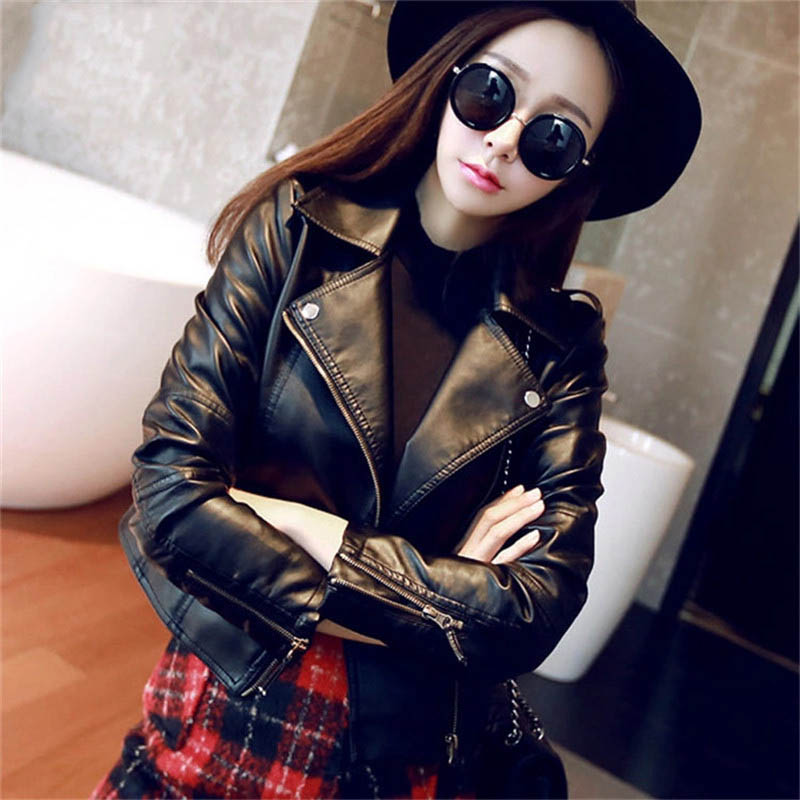 2019 Hot Sale Soft Faux   Leather   Jacket Women Brand New Spring Autumn Biker Jacket Long Sleeve Short Basic Coat Zippers Outwear