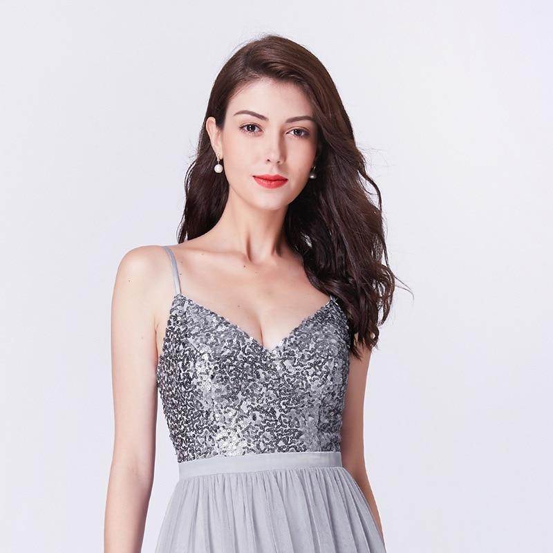 It's Yiiya Evening Dress V-Neck Sleeveless Sequined Floor-Length Robe De Soiree C406 Spaghetti Strap A-Line Women Party Dresses
