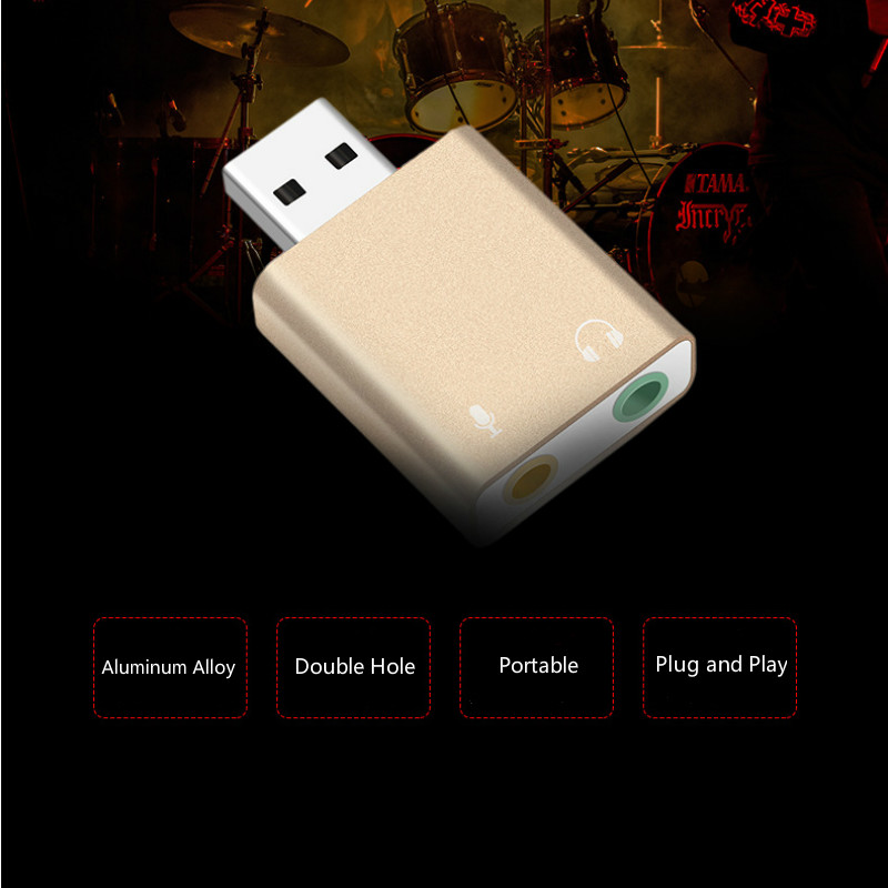 Aluminum Alloy External USB Audio Adapter Sound Card with 3.5mm Stereo Headphone and Mono Microphone Jack Audio Sound Card 5