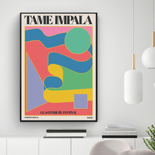 Tame Impala At Glastonbury Gig Poster Vintage Colorful Canvas Painting Retro Wall Decor Pictures for Posters Aesthetic Room Deco