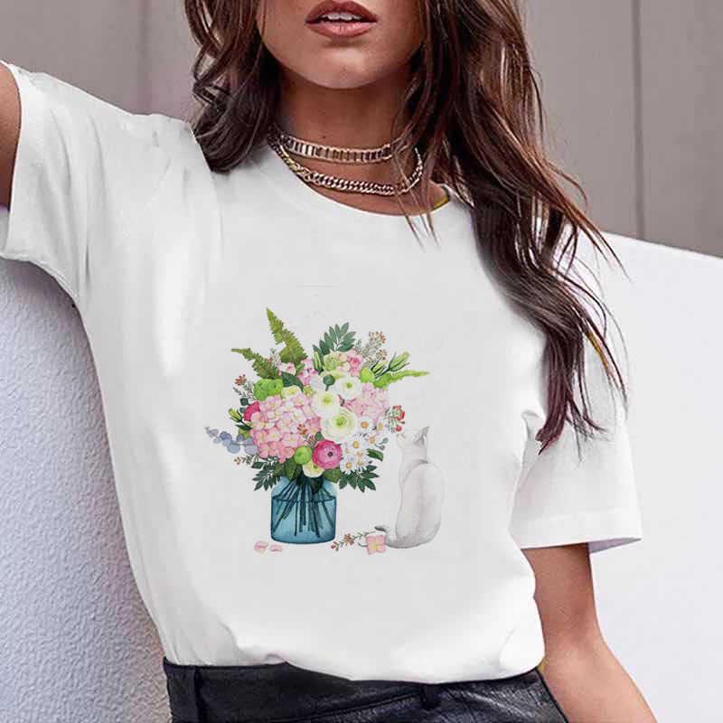 Tshirt 여성 여름 옷 인쇄 꽃 꽃 병 달콤한 짧은 소매 Tshirt 인쇄 된 여성 T 셔츠 여성 T-셔츠 캐주얼 티