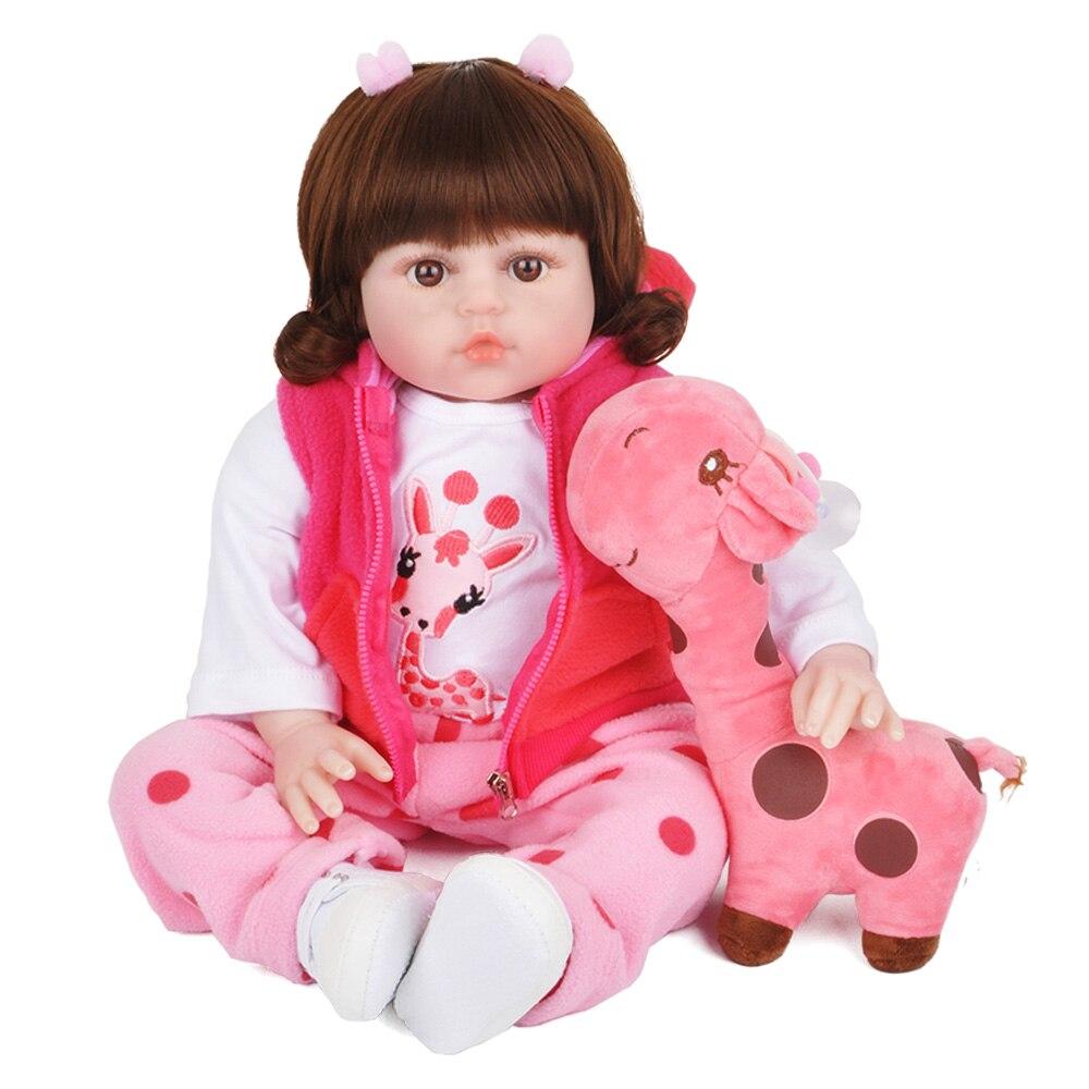 17 polegada 45cm silicone reborn boneca bebe bonecas bebê realista vivo menino presente de natal brinquedos para crianças girafa