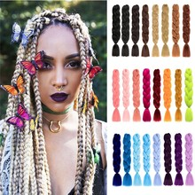ELEGANT MUSES Jumbo Braiding Hair Synthesis Ombre Color 24In 100g Extension Box Braid Hair Blonde Pink African Crochet Braid