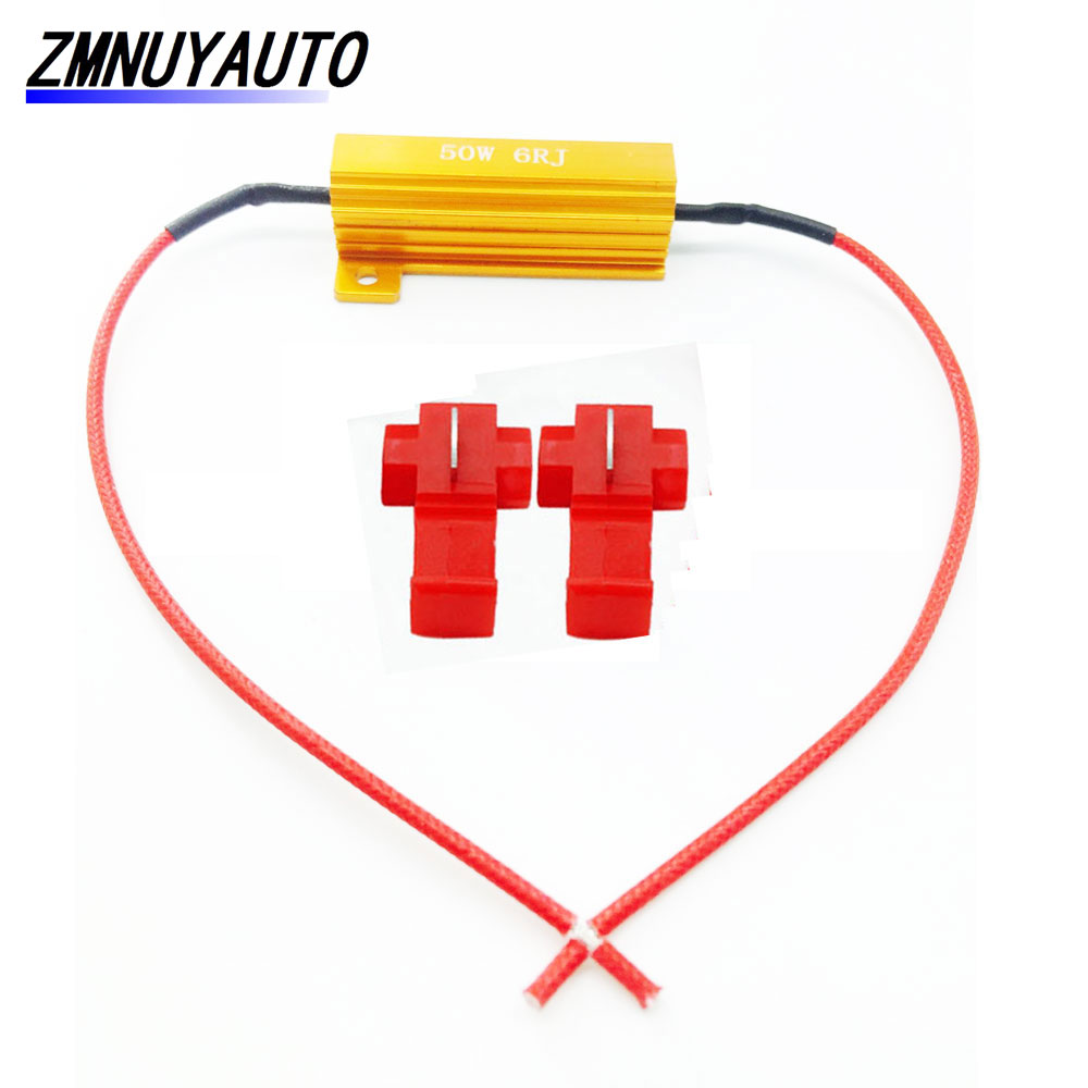 2x 50W 6ohm LED Bulb Decoder Load Resistor Fix Canbus Error Fast Flash Hyperflash Turn Signal Blinker 12V P21W 1156 PY21WCar Light Accessories   -