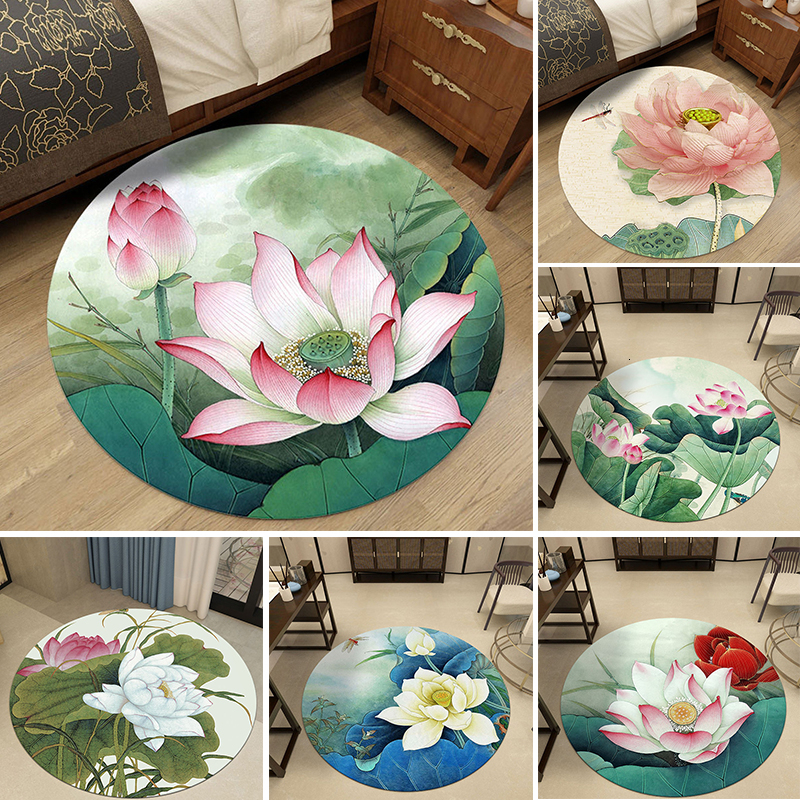<font><b>3D</b></font> Flower Round Carpet For Living Room Parlor Rugs Bedroom Area Rug Floor Mat Non-slip Door Mat <font><b>Tapete</b></font> Para Sala Home Decoration image