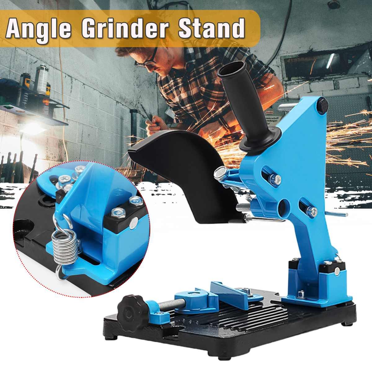 For 100-125 Cutter Angle Grinder Wood Power Tool Accessory Angle Grinder Stand Iron Base Angle Grinder Bracket Holder Support
