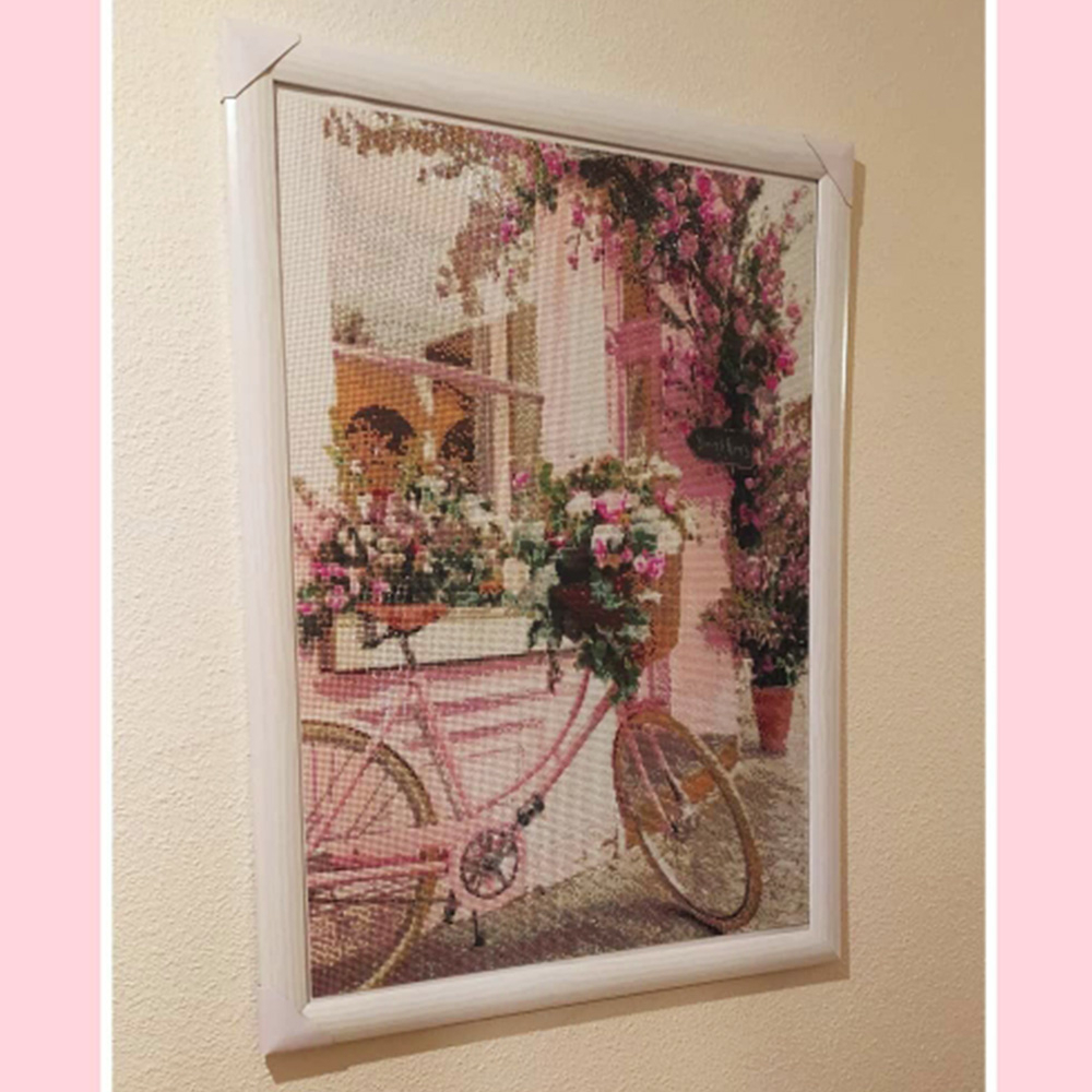 Evershine Diamond Painting Bicycle Full Square Diamond Embroidery Flower Pink Cross Stitch Mosaic Crafts Kit Home Decoration-2