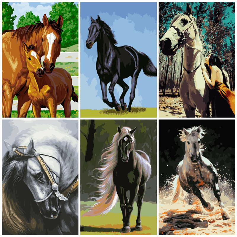AZQSD Horse Series Painting By Numbers Handmade Gift DIY Abstract Oil Paint By Number Canvas Kits Animal Home Decor SZGD063