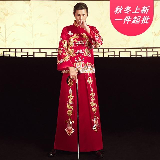 2020 noivo smoking e ele fu 2020 antigo traje chinês noivo vestido de casamento dragão phoenix jaqueta brinde atacado