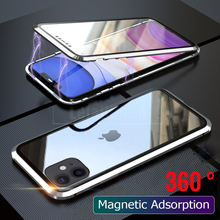 Full Protection Phone Case For iPhone 11 Pro Max Cover 360 Magnetic case 11Pro Shockproof Metal Bumber