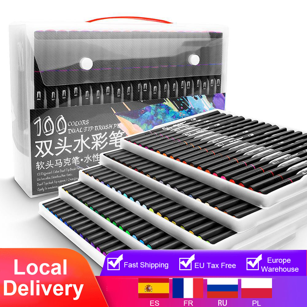 48/60/72/100 Color Watercolor Markers for Drawing Painting Set Professional Water Coloring Brush Pen Set Dual Tip for School|Art Markers|   - AliExpress