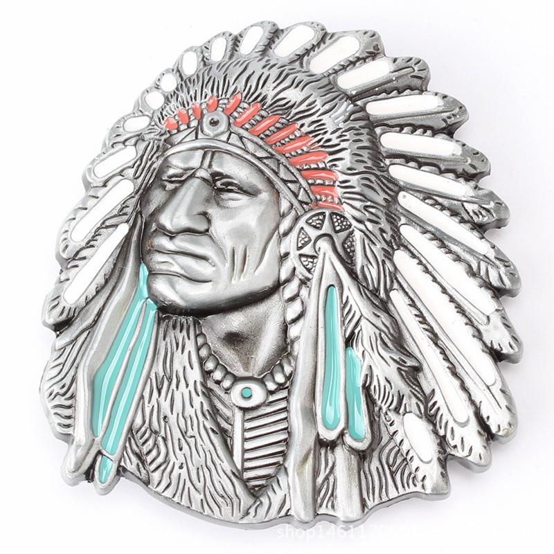 Belt DIY Accessories Indian Tribal Chief Avatar Belt Buckle Western Cowboy Style Smooth Belt Buckle K1