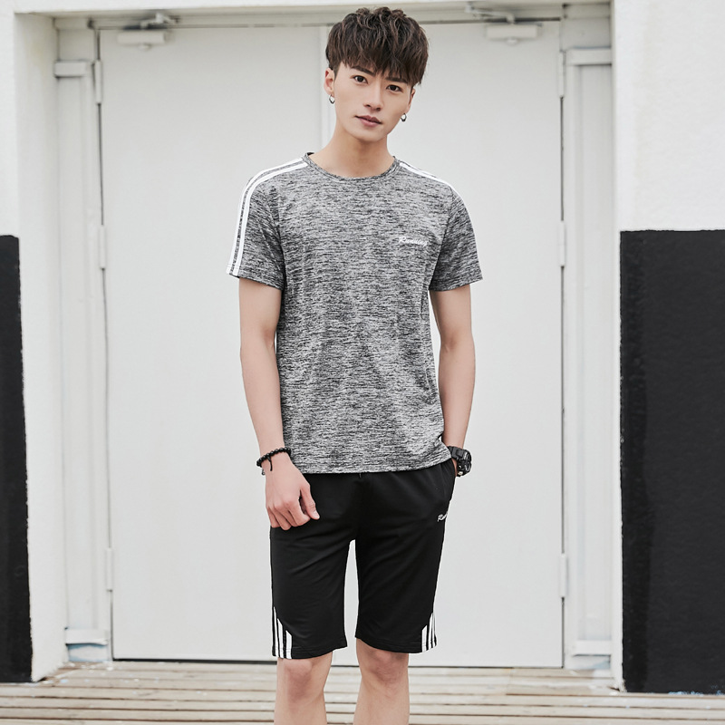 Quick-Dry Sports Set MEN'S Short Sleeve Shorts Two-Piece Set Shorts Summer Style T-shirt Fitness Running Sports Clothing