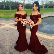 Women's Sequin Mermaid Bridesmaid Dresses Off Shoulder Weddi