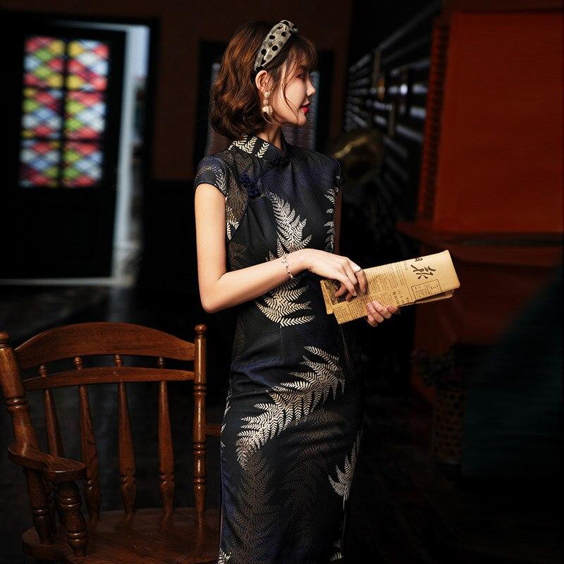 Dresses Printing Elastic Qipao New Short Cheongsam Restore Ancient Traditional Chinese Cheongsam Oriental Bride Wedding Dresses